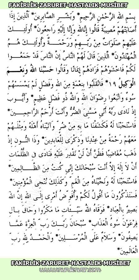 Fakirlik Hastalık Musibetler için Dua
