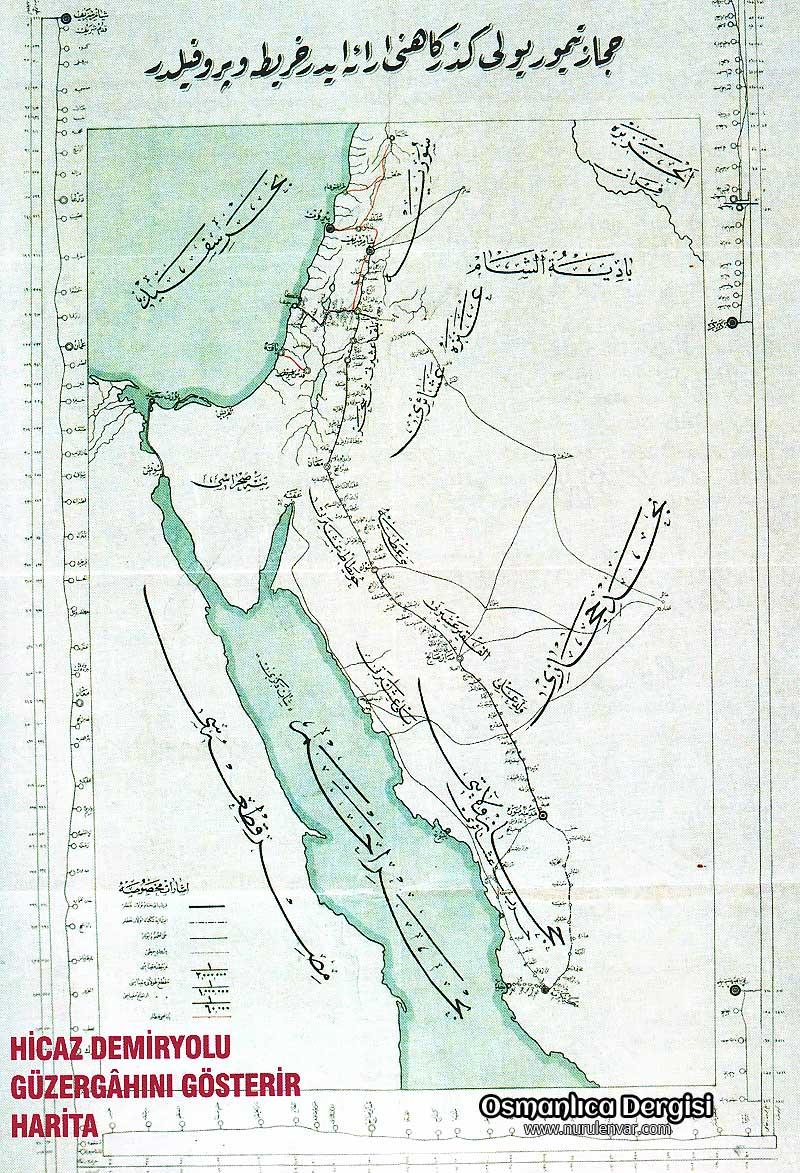 Osmanlıca Hicaz Demir Yolu Haritası