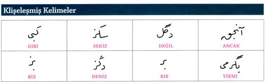 Osmanlıca Klişe kelimeler imajı